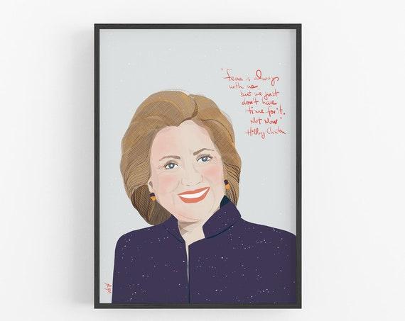 Hillary Rohdam Clinton | Art Print | Feminist cubicle decor | Fan Art