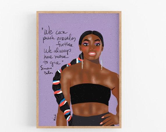 Simone Biles Portrait, Girl Power Art Print, Classroom Wall Art