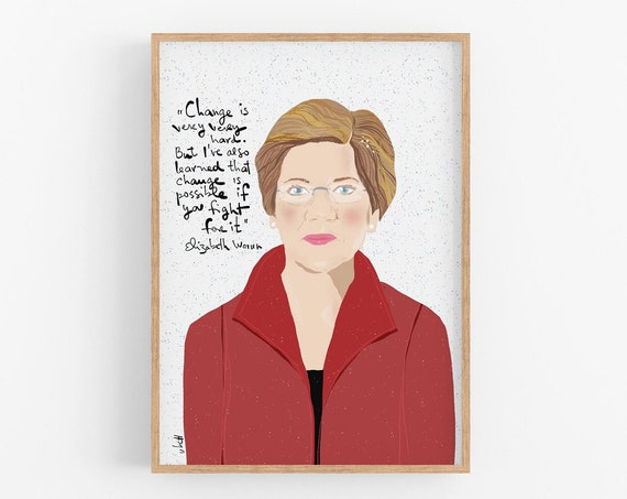 Elizabeth Warren Art Print, Dorm Room Decor