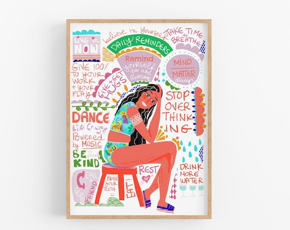 Girl thinking about what to do Art print, Young adult Wall Decor, Colorful Posters, colorful office art for her