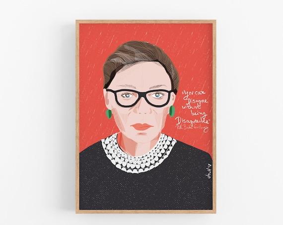 Ruth Bader Ginsburg Portrait Art Print