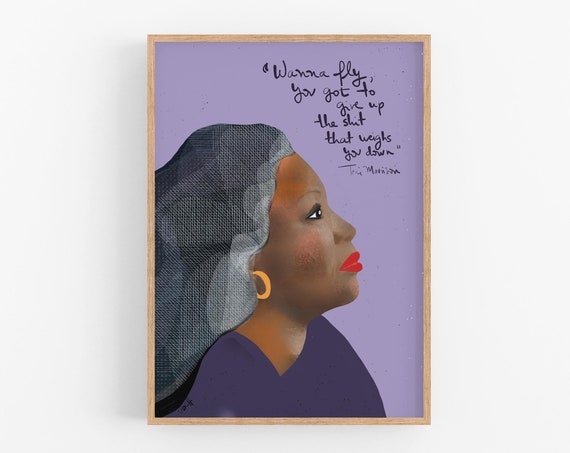 Toni Morrison Art Print, Cubicle Decor,  Gifts for her