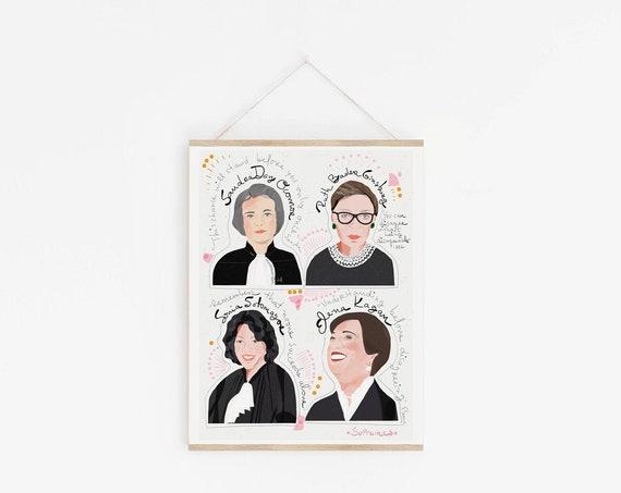 Supreme Judges Art Print, Cool Graduation Gift, Supreme Court Women Wall Decor, Lawyers Gifts