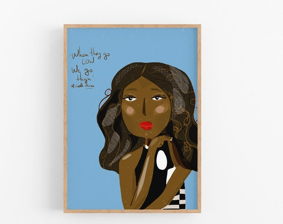 Michelle Obama Celebrity Portraits, Girl Boss Wall Art