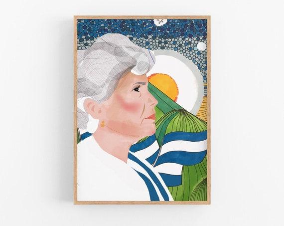 Violeta Barrios de Chamorro Portrait   First Women President in Latin America   Iconic women portrait