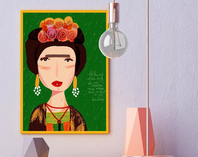 Featured listing image: fridita kahlo print |  Celebrity Portraits | Wall art | Cubicle decor |Inspirational quote | Friendly advice from Frida | Greenery