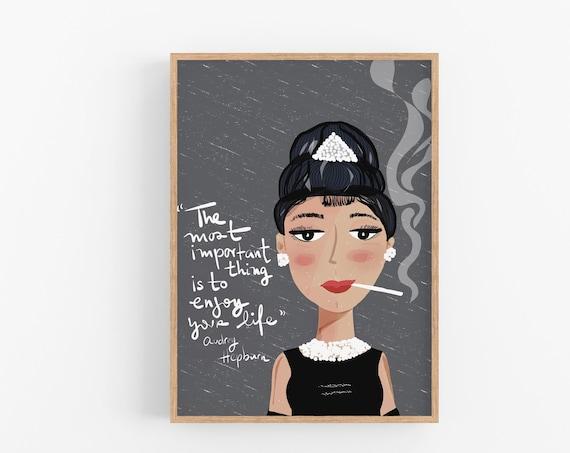 Audrey Hepburn Print | Cubicle Decor Poster |  feminist poster | Iconic women Art