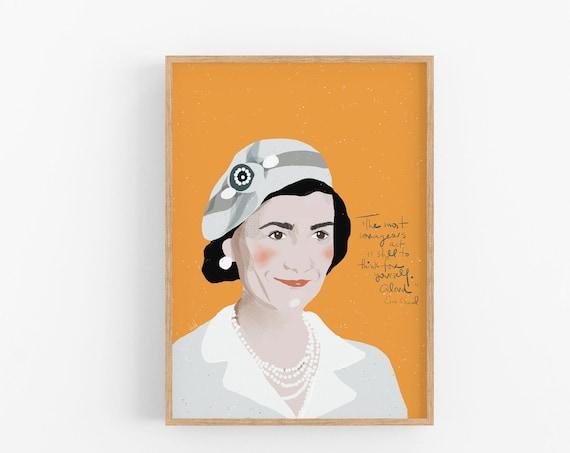Coco Chanel Art Print Portrait, Iconic Women Art, Cubicle Decor