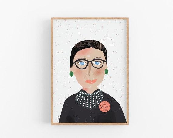 Notorios RBG, I Dissent Collar, Ruth Bader Ginsburg Art Print