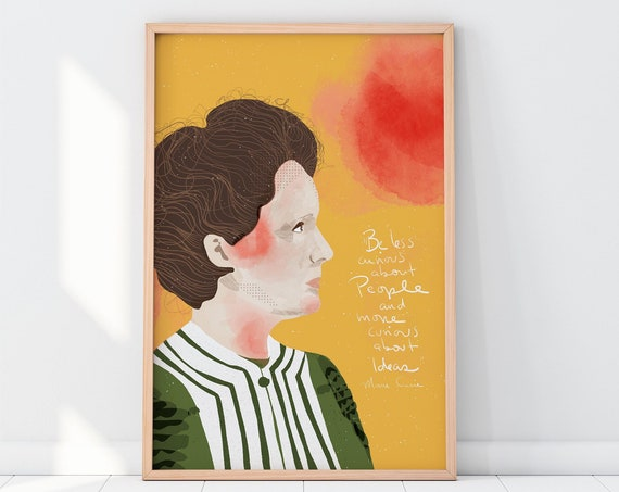 Marie Curie Art Print, Ready to Frame Wall Decor, Cubicle Decor