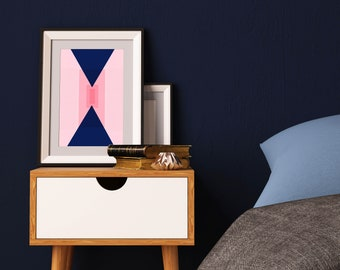Corners of the World, Blue Art, Pink Art, Art Print, Statement Art, Home decor, Office decor