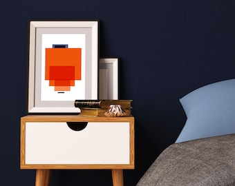 Geometric  Orange Art | Abstract Art |  Home Office Decor | Fathers day gift