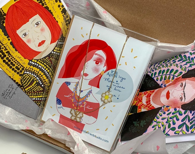 Mothers Day Gift Box for artist lover- Frida Kahlo and Yayoi Kusama box