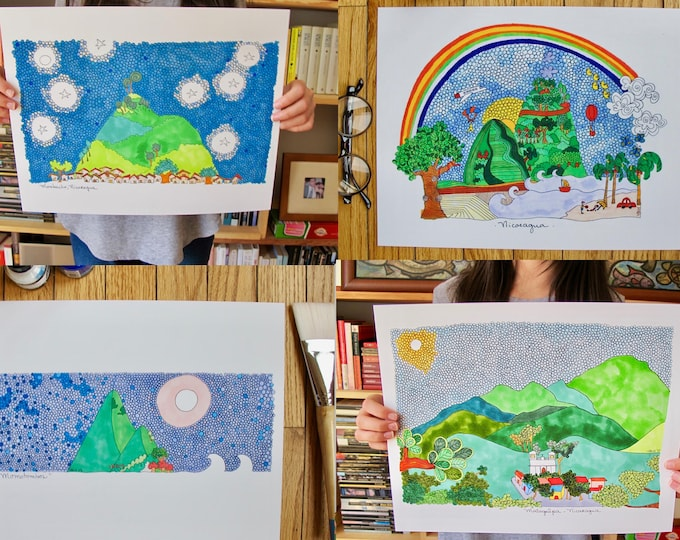 Featured listing image: Print Sale | Any 4 Art Prints |  La Nicaragua Linda | Nicaragua