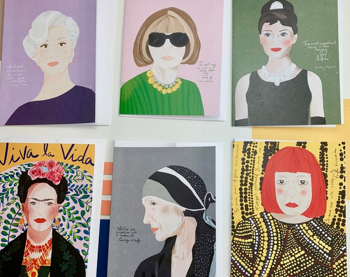 Iconic women in the Arts set of 6 Greeting cards to send or frame Girl power for cubicle decor or dorm decor for artist