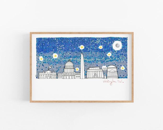 Washington DC Art Print | DC Sskyline | Cubicle Decor