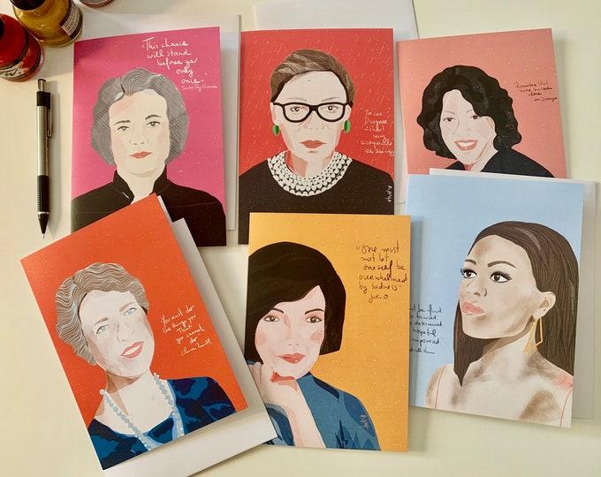 Set of 6 Blank Greeting cards |Stationary set | Washington DC iconic women