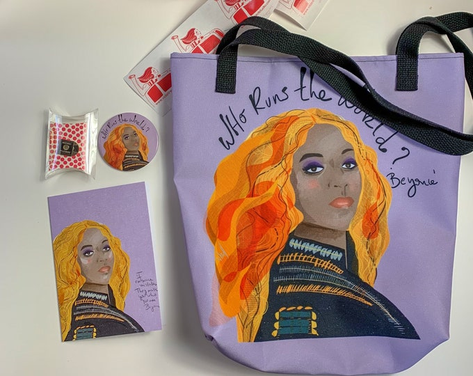 Mothers Day Gift Box Beyonce Tote- Queen Bee inspired box - Beyonce box filled with: Card- Pin- Magnet - Tote