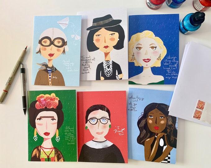 greeting card set quircky portrait of amazing girls nursery decor and girl power inspiration