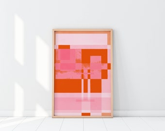 Pink Art, Pink and Orange contemporary art print, Square things up, Art Print, Home decor, Cubicle decor