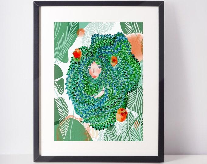 Cute Art Print - Green Home Office Art - Girl power decor -
