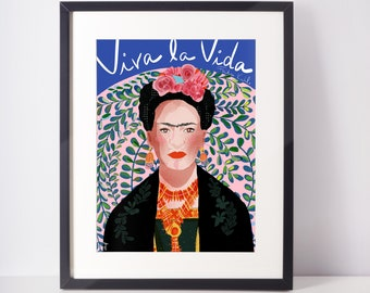 Frida Kahlo Portrait Colorful Art Print Ready to frame novelty Wall Art  Lady Boss Gift  Home Decor Office Art