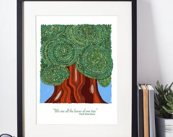 We are all the leaves in one tree | Nature lover print| Home decor