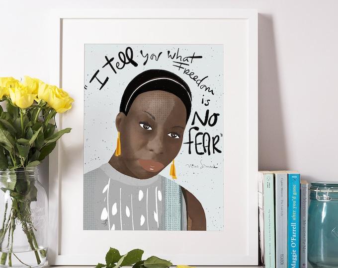 Nina Simone portrait Art print cubicle decor