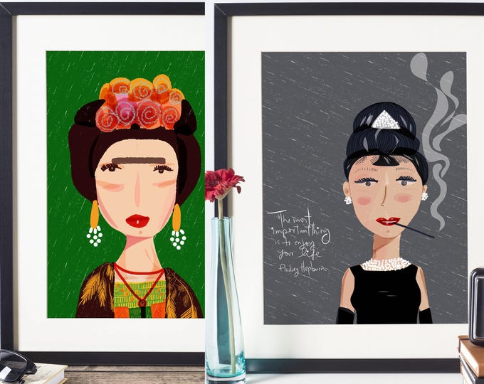 Featured listing image: Any 2 Art Prints from Icon series-Iconic women Prints-Girl power-wall art-cubicle decor-dorm room wall art-quirky illustration-gifts for her