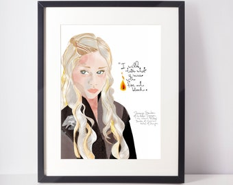 Daenerys Tagaryen Art Print | Mother of Dragons inspired Print | Pop Culture Cubicle Decor | Fan Art