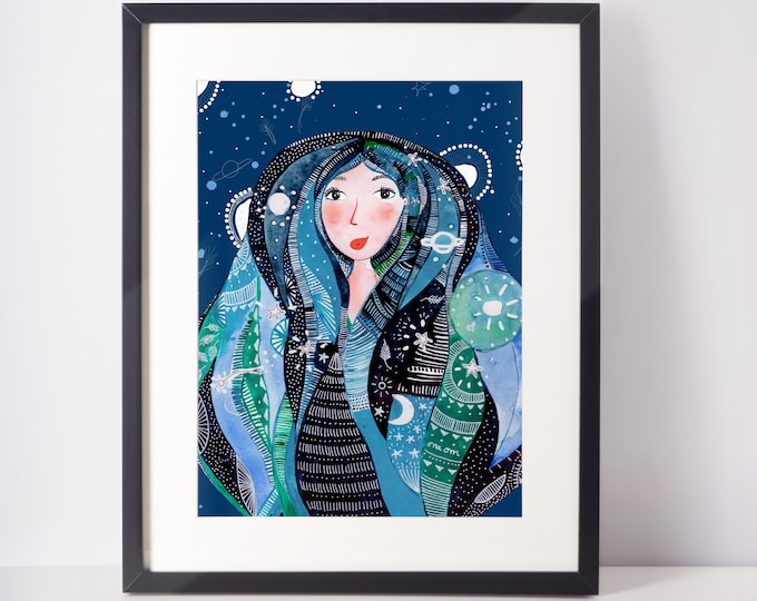 Girl Covered in the night illustration Classic Blue night wall art for cubicle decor