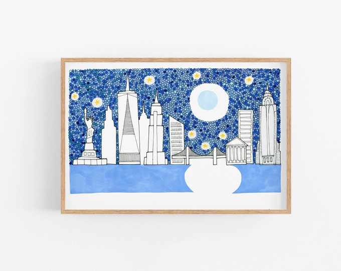 New York illustration Ready to frame Art Print Quirky wall art landscape