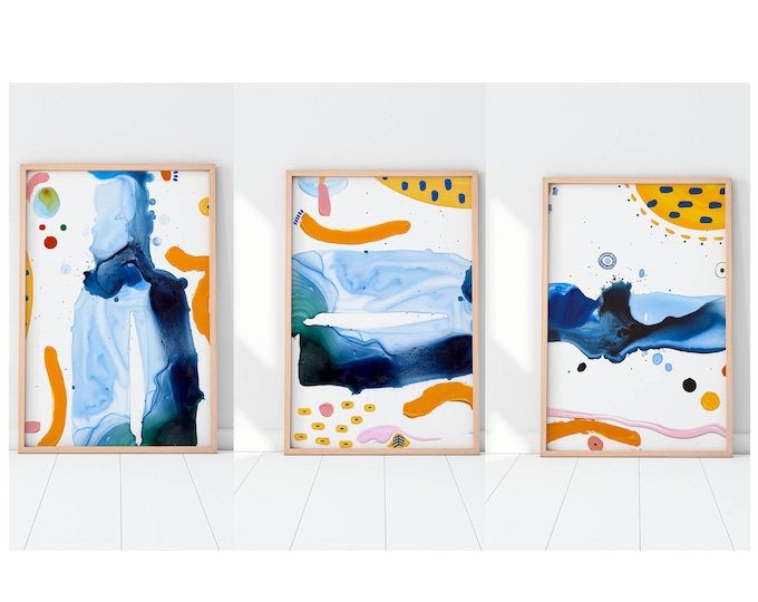 Abstract Art Set of 3  Blue Art Prints - Home or Office decor