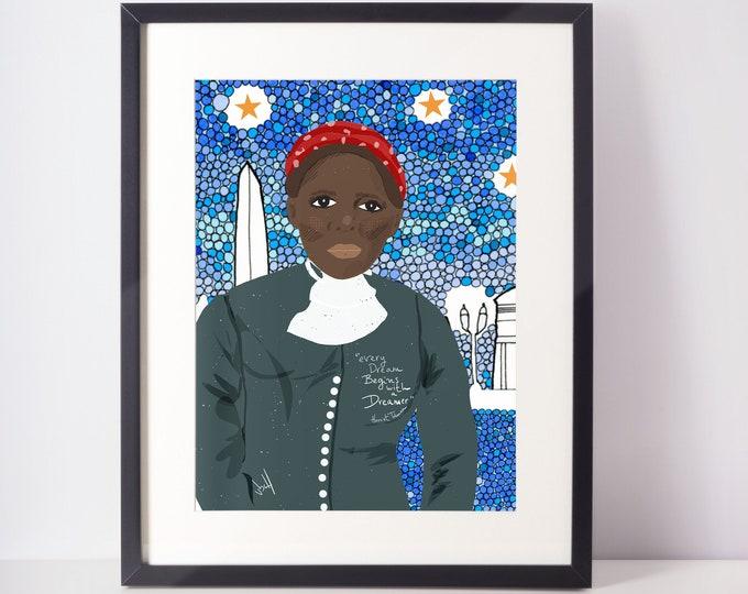 Harriet Tubman Portrait Art Print Cubicle decor