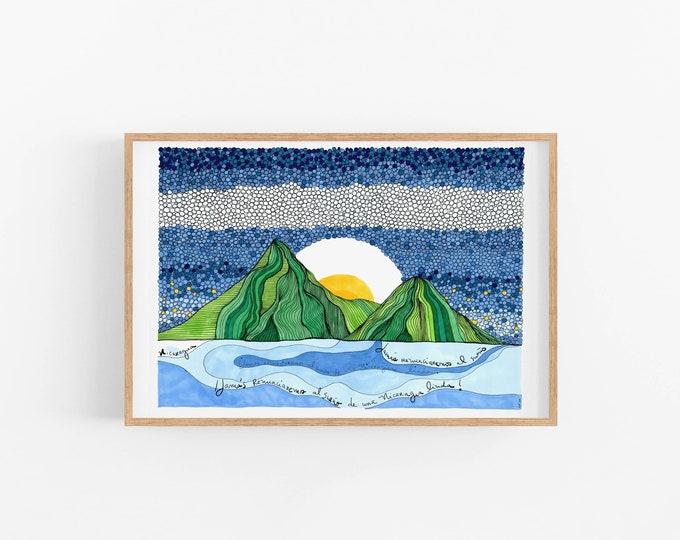 Nicaragua cubicle decor | Art Print ready to frame | Nicaraguan flag | Map Print