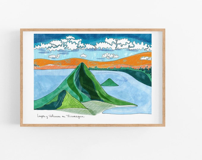 Nicaragua Print | Lakes and Volcanos from Nicaragua