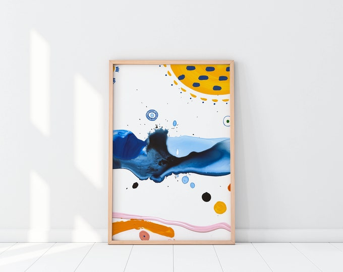 ONE WAY Blue abstract art  Contemporary art print