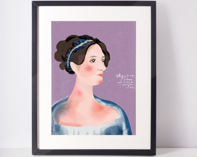 Ada Lovelace Portrait inspiration for girls who code  Wall Art Print for cubicle or office Decor