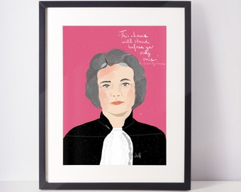 Sandra Day O'connor Portrait fan art cubicle decor art print ready to frame