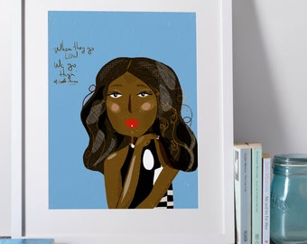 Michelle Obama Art Print  | Girl Power Decor| cubicle decor| Nursery wall art