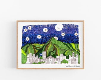 San Salvador, El Salvador skyline | Salvador illustration | cubicle decor | Travel prints for dad