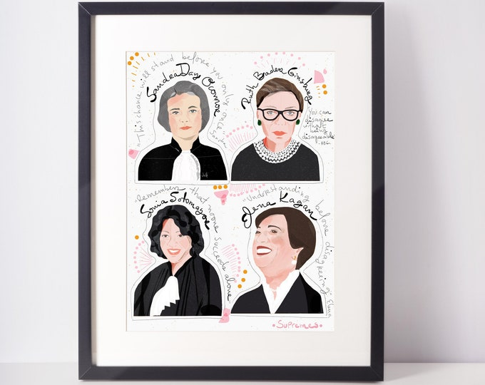 Featured listing image: Supreme Court Girl Power Art print ready to frame law student cubicle decor