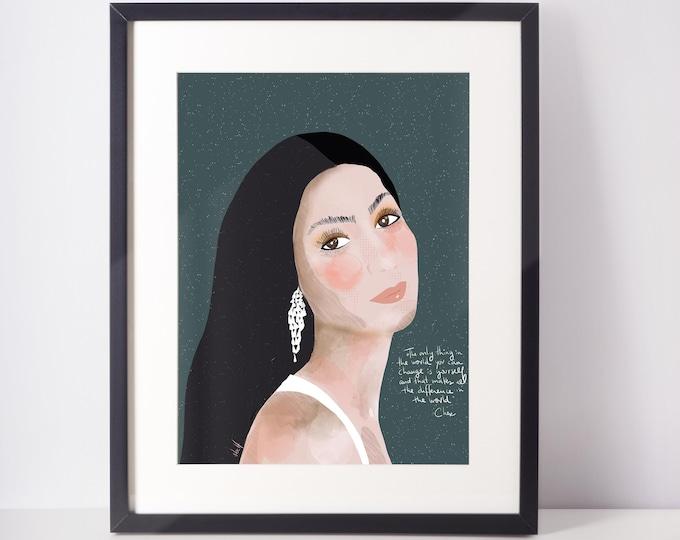 Cher Art Print   Cubicle Decor   Girl Power Decor   Home Office Art