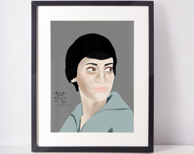 Ursula K. Le Guin Portrait   Women Writer Art Print Wall Art for Office and cubicle decor