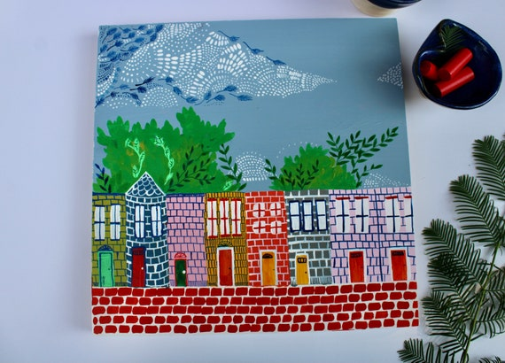 Original Painting on wood panel, City landscape Artwork, Gifts for dad