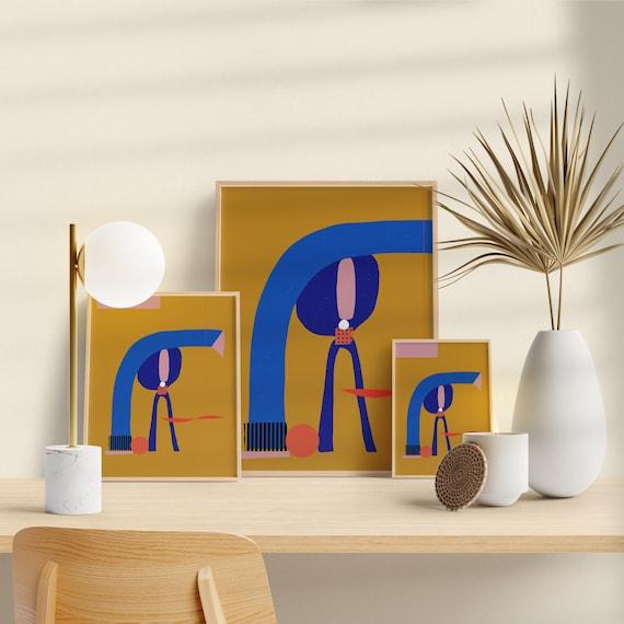 Modern art wall, Bedroom Decor, Yellow ochre Art Print