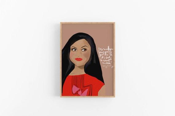Mindy Kaling Art Print, Iconic Women Print