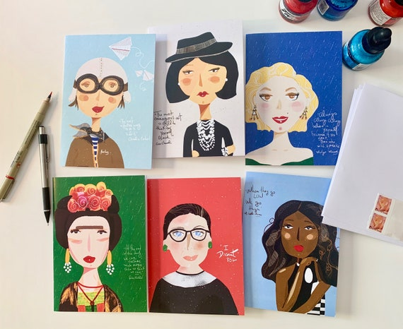 Set of Greeting Cards, Quirky illustration Iconic Women Portrait , Snail Mail, set of 6 | Set of 12