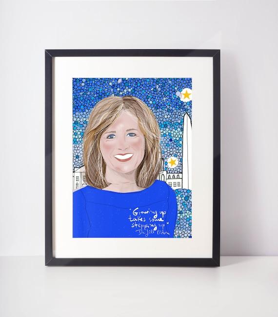 Dr. Jill Biden Portrait, Celebrity portrait, Cubicle decor, Girl Boss Office Art