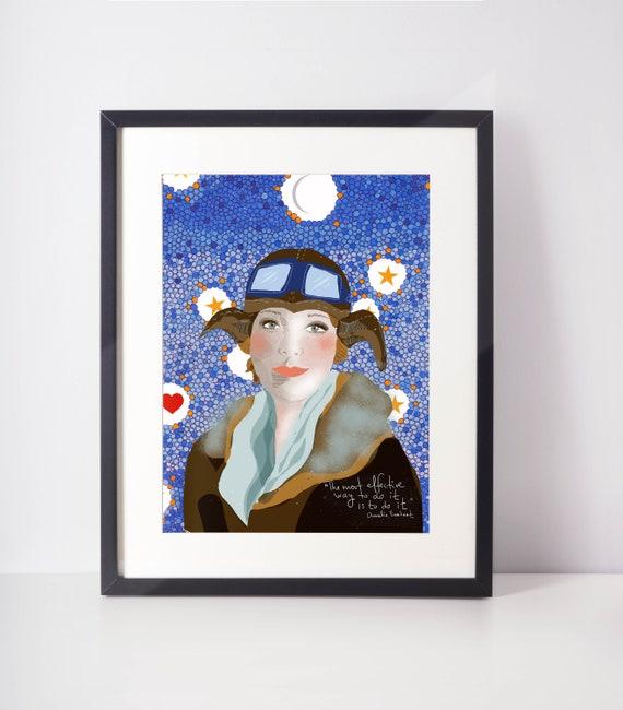 Amelia Earhart Print, Iconic Women Print Office Decor, Young girl wall art, Girls Room Bedroom Decor